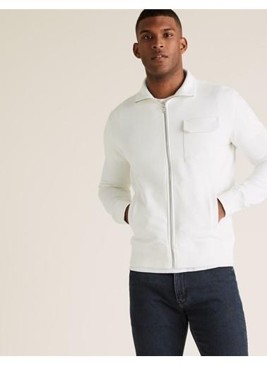 Marks & Spencer Saf Pamuklu Sweatshirt Beyaz